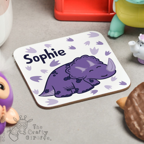 Personalised Purple Triceratops Coaster