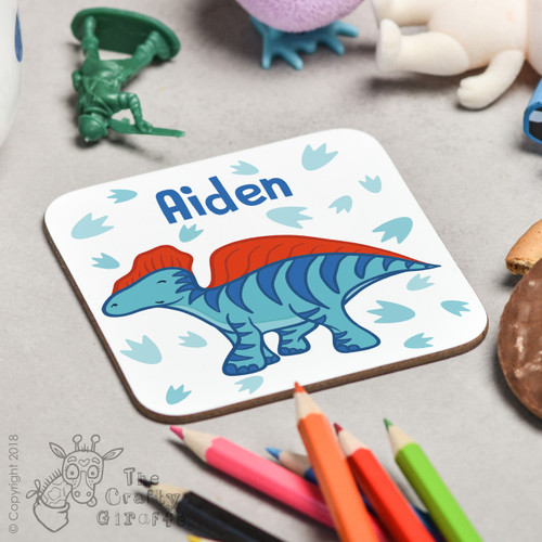 Personalised Blue Dinosaur Coaster
