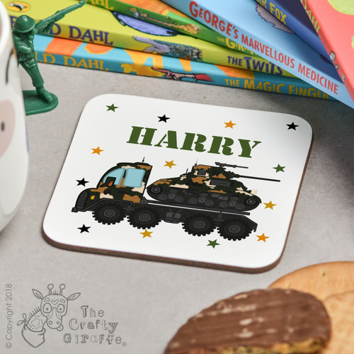Personalised Tank Transporter Coaster