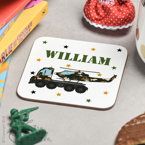 Personalised Helicopter Transporter Coaster