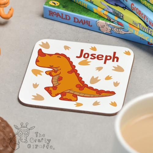 Personalised Orange T-Rex Coaster