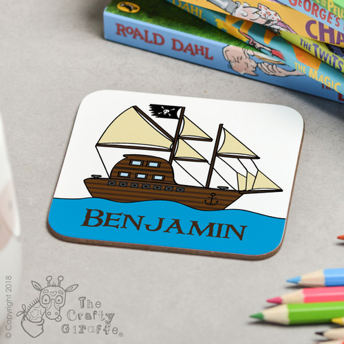 Personalised Pirate Ship Coaster