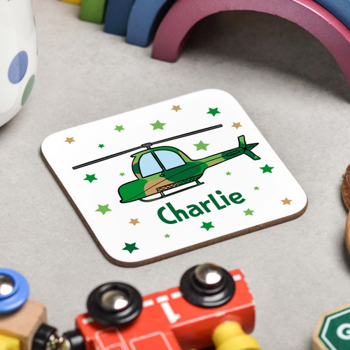 Personalised Helicopter Coaster - The Crafty Giraffe