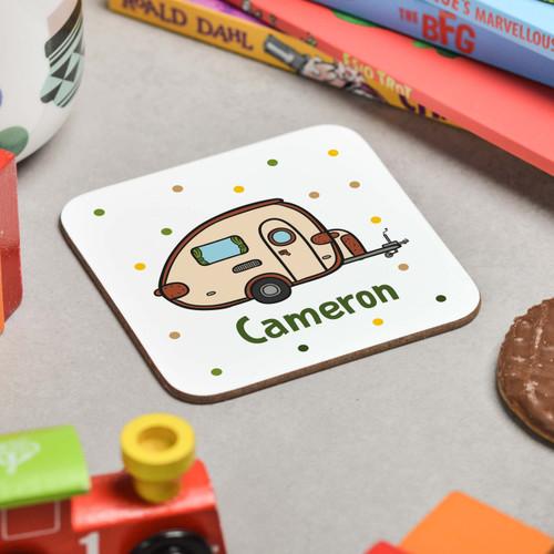 Personalised Caravan Coaster - The Crafty Giraffe