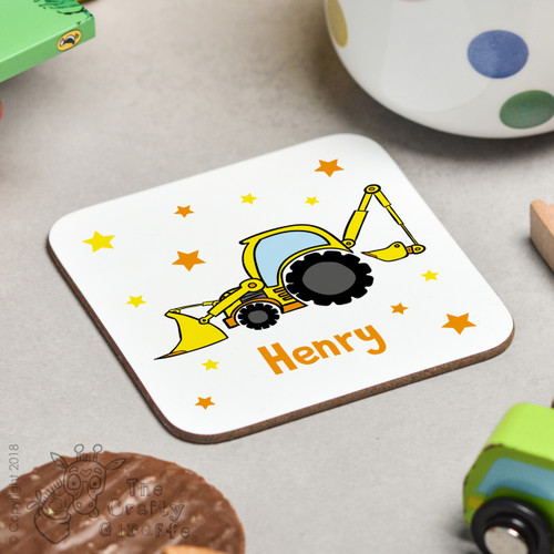 Personalised Digger Coaster