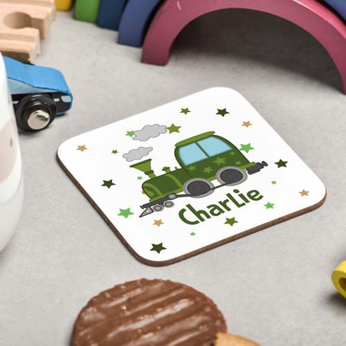 Personalised Train Coaster - The Crafty Giraffe
