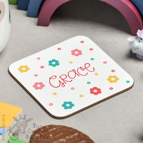 Personalised Flowers Coaster