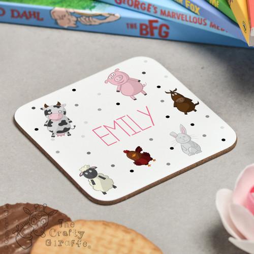 Personalised Farm Animals Coaster
