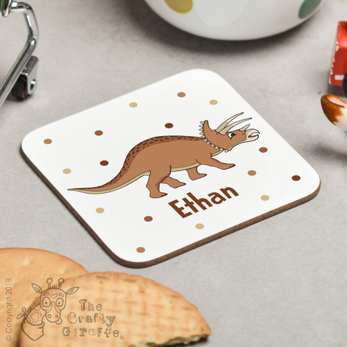 Personalised Triceratops Coaster