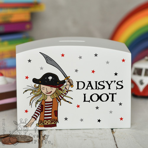 Personalised Pirate Girl Money Box