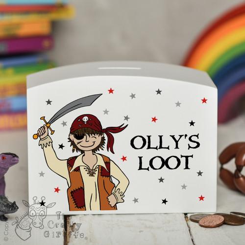 Personalised Pirate Boy Money Box