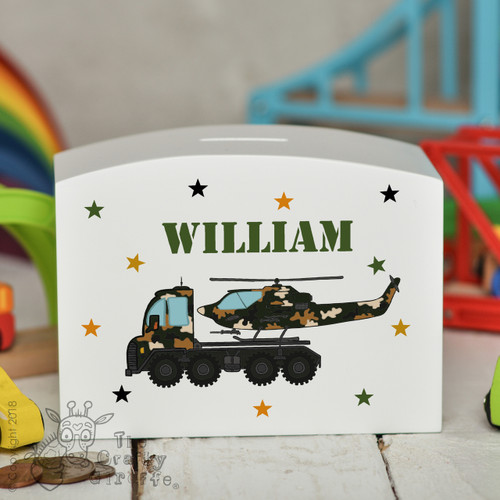 Personalised Helicopter Transporter Money Box