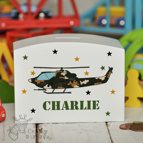 Personalised Attack Helicopter Money Box