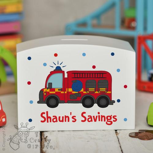 Personalised Fire Engine Money Box
