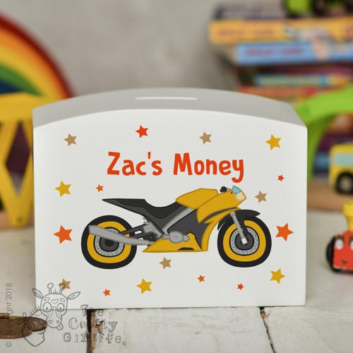 Personalised Motorbike Money Box