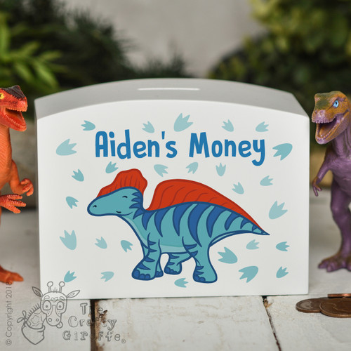 Personalised Blue Dinosaur Money Box