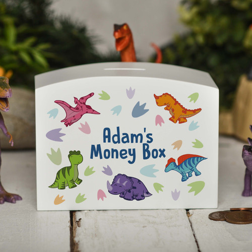Personalised Dinosaur Money Box - The Crafty Giraffe