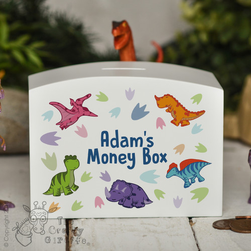 Personalised Dinosaur Money Box