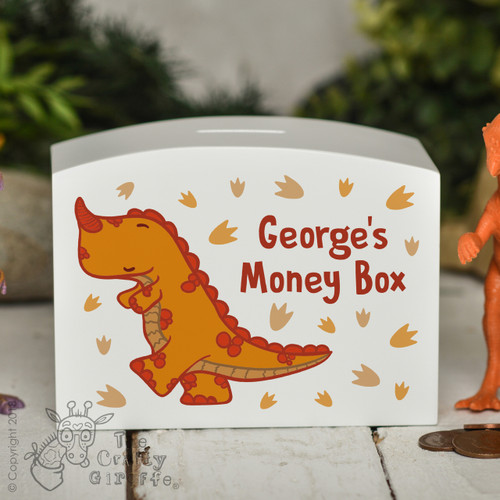 Personalised Orange T-Rex Money Box