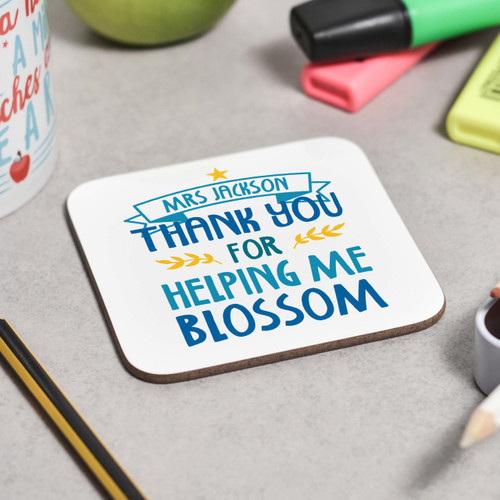 Personalised Thank you for helping me blossom Coaster - The Crafty Giraffe