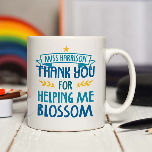 Personalised Thank you for helping me blossom Mug - The Crafty Giraffe