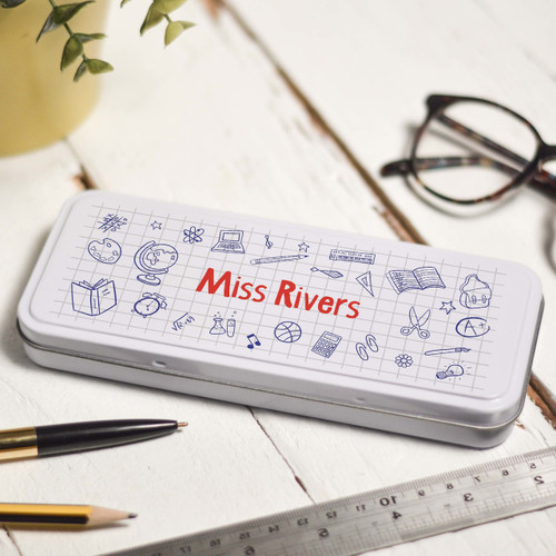 Buy Personalised Doodle Pencil Tin From The Crafty Giraffe, the home of unique and affordable gifts for loved ones...