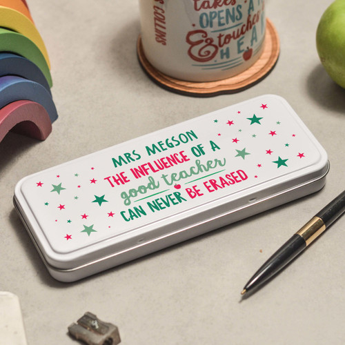 Buy Personalised The influence of a good teacher can never be erased Pencil Tin From The Crafty Giraffe, the home of unique and affordable gifts for loved ones...
