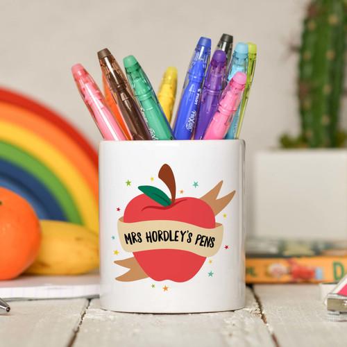 Personalised Apple Teacher Pencil Pot - The Crafty Giraffe