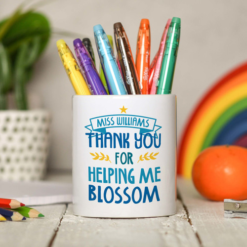 Personalised Thank you for helping me blossom Pencil Pot - The Crafty Giraffe