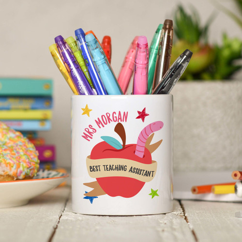 Personalised Best Teaching Assistant Pencil Pot - The Crafty Giraffe