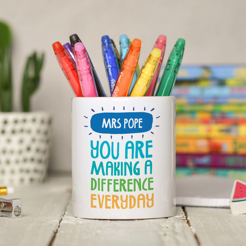 Personalised You are making a difference everyday Pencil Pot - The Crafty Giraffe