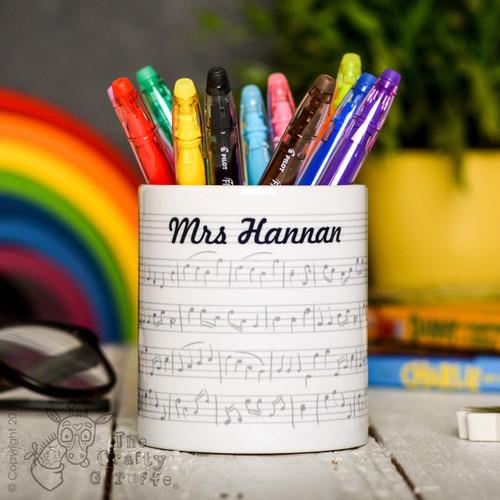 Personalised Music Pencil Pot