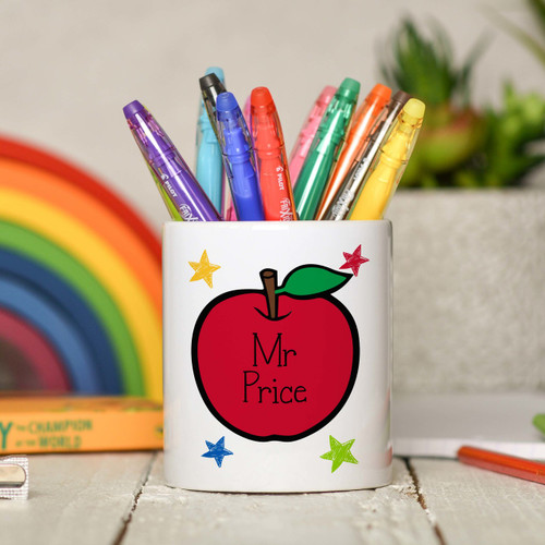 Personalised Teacher Apple Pencil Pot - The Crafty Giraffe