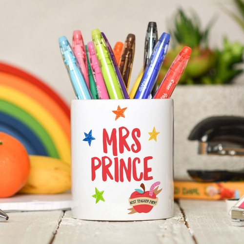 Personalised Teacher Name - Best teacher apple Pencil Pot - The Crafty Giraffe