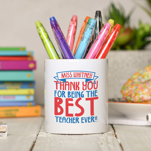 Personalised Thank you for being the best teacher Pencil Pot - The Crafty Giraffe