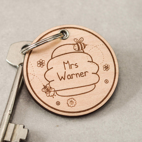 Buy Personalised Beehive Keyring From The Crafty Giraffe, the home of unique and affordable gifts for loved ones...
