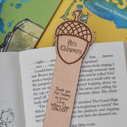 Personalised Acorn Bookmark