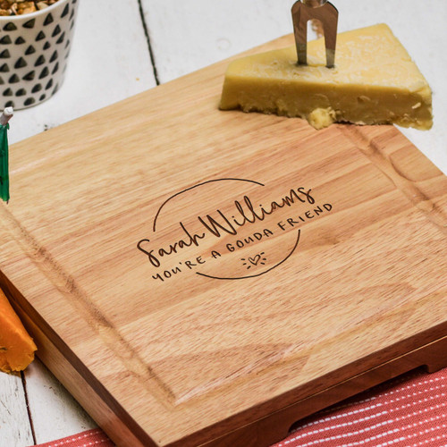 Buy Personalised Gouda Friend Cheeseboard with Knives From The Crafty Giraffe, the home of unique and affordable gifts for loved ones...