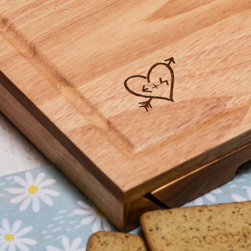 Personalised Carved Heart Cheeseboard with Knives