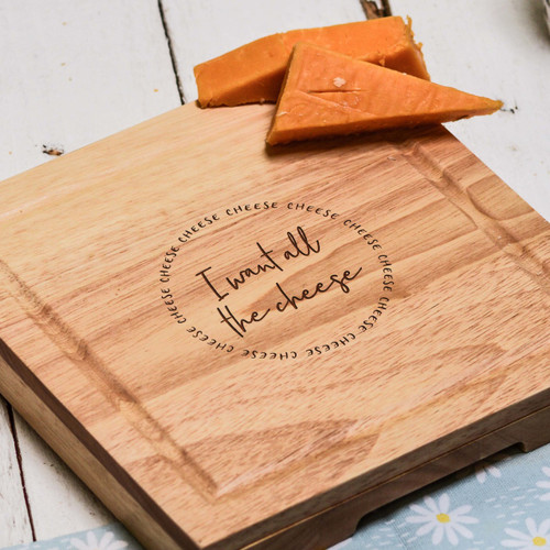 Buy I want all the cheese Cheeseboard with Knives From The Crafty Giraffe, the home of unique and affordable gifts for loved ones...