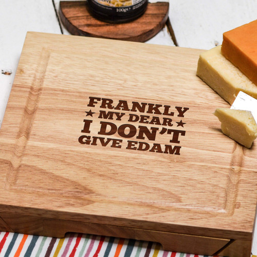 Buy Frankly my dear I don't give edam Cheeseboard with Knives From The Crafty Giraffe, the home of unique and affordable gifts for loved ones...