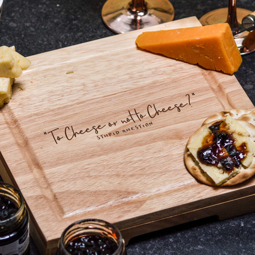 Buy To Cheese or not to Cheese Cheeseboard with Knives From The Crafty Giraffe, the home of unique and affordable gifts for loved ones...