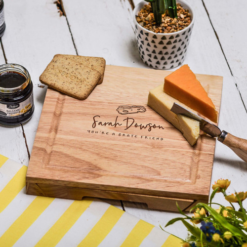 Buy Personalised Grate Friend Cheeseboard with Knives From The Crafty Giraffe, the home of unique and affordable gifts for loved ones...