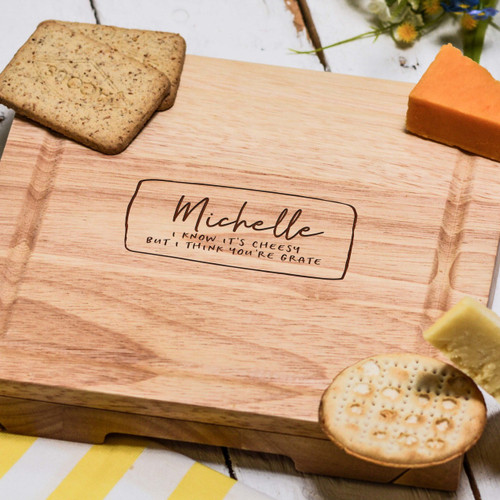 Buy Personalised I think you're grate Cheeseboard with Knives From The Crafty Giraffe, the home of unique and affordable gifts for loved ones...