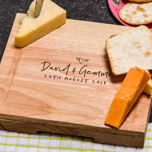 Buy Personalised Couples Dates Cheeseboard with Knives From The Crafty Giraffe, the home of unique and affordable gifts for loved ones...