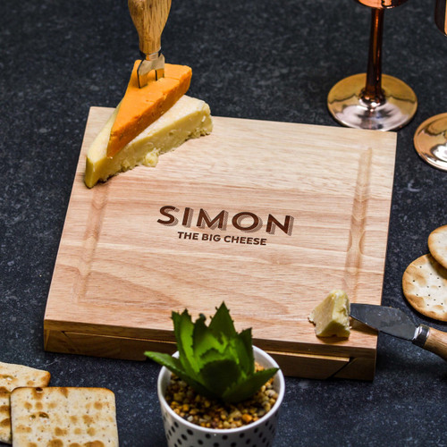 Buy Personalised The Big Cheese Cheeseboard with Knives From The Crafty Giraffe, the home of unique and affordable gifts for loved ones...