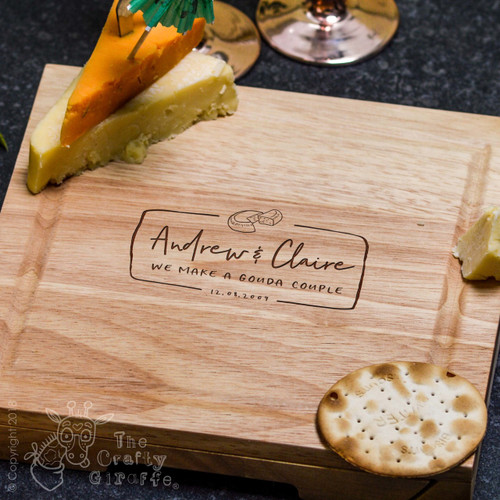 Personalised Gouda Couple Cheeseboard with Knives
