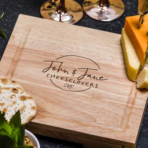 Buy Personalised Cheeselovers Cheeseboard with Knives From The Crafty Giraffe, the home of unique and affordable gifts for loved ones...