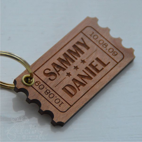 Personalised Ticket Keyring - The Crafty Giraffe