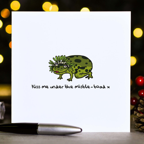 Buy Kiss me under the mistle-toad Christmas Card From The Crafty Giraffe, the home of unique and affordable gifts for loved ones...